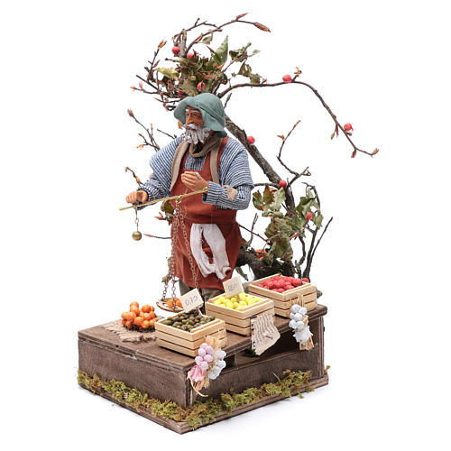 Fruit seller with scales for Animated Neapolitan Nativity, 24cm 2