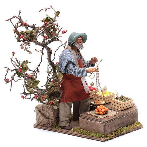Fruit seller with scales for Animated Neapolitan Nativity, 24cm 3