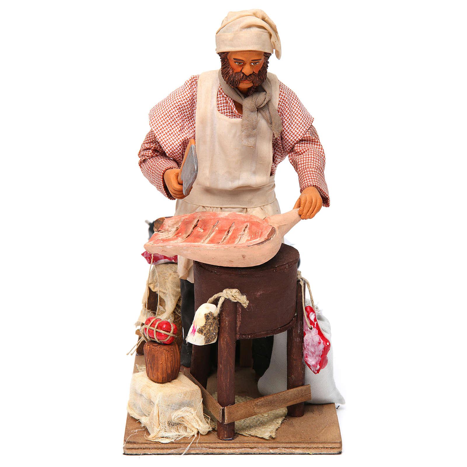 Butcher figurine for animated Neapolitan Nativity, 24cm 4