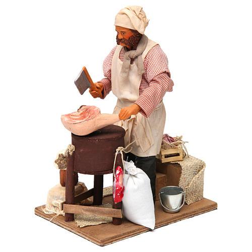 Butcher figurine for animated Neapolitan Nativity, 24cm 2