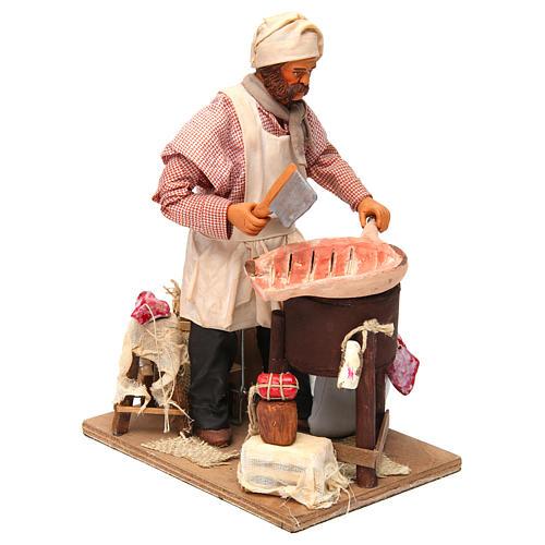 Butcher figurine for animated Neapolitan Nativity, 24cm 3