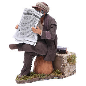 Man reading paper figurine for animated Neapolitan Nativity, 24cm s2