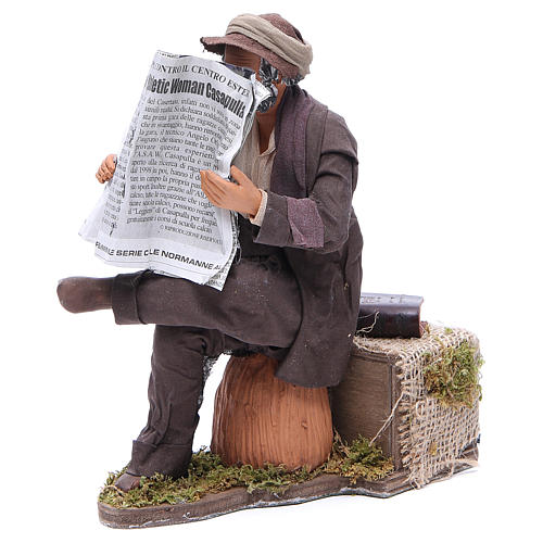 Man reading paper figurine for animated Neapolitan Nativity, 24cm 2