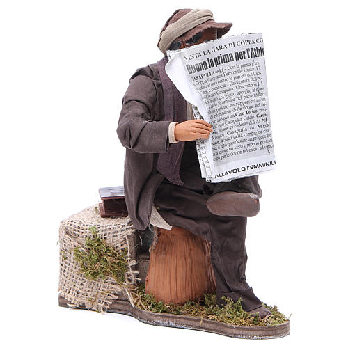Man reading paper figurine for animated Neapolitan Nativity, 24cm 3