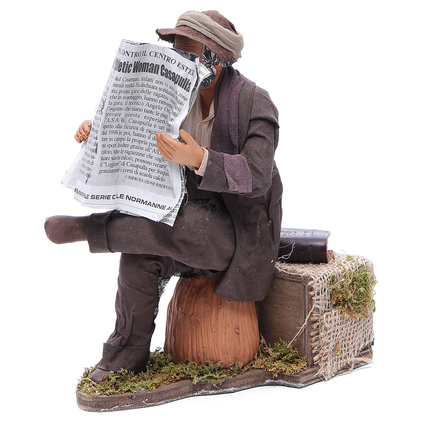 Uomo che legge il giornale 24 cm movimento presepe Napoli 4