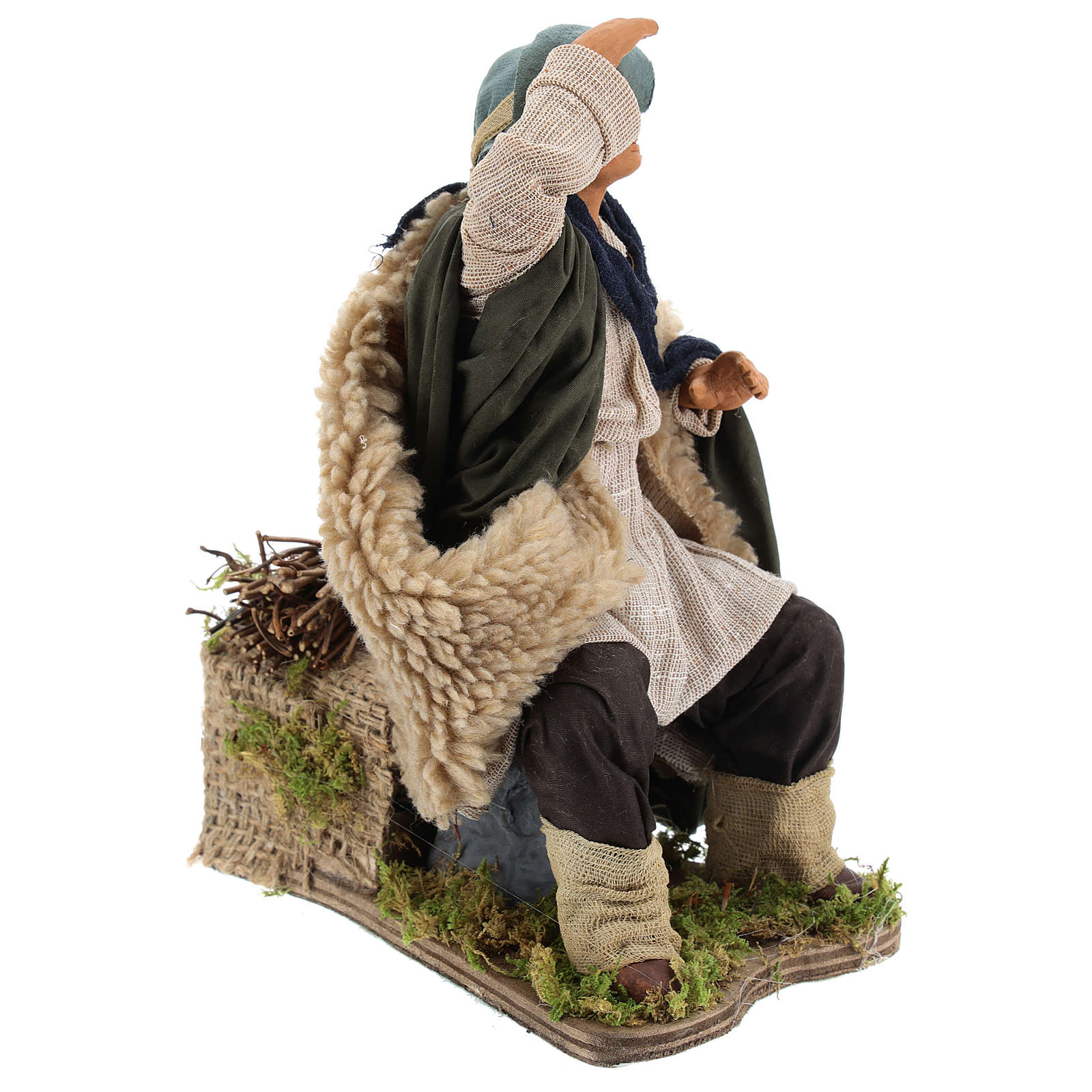 Animated Man looking in the distance figurine for Neapolitan Nativity, 24cm 4