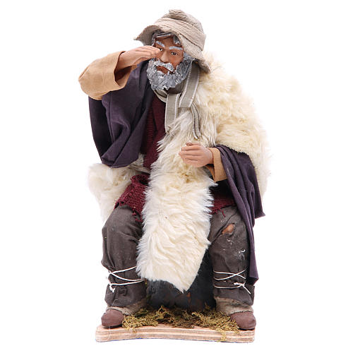 Animated Man looking in the distance figurine for Neapolitan Nativity, 24cm 1