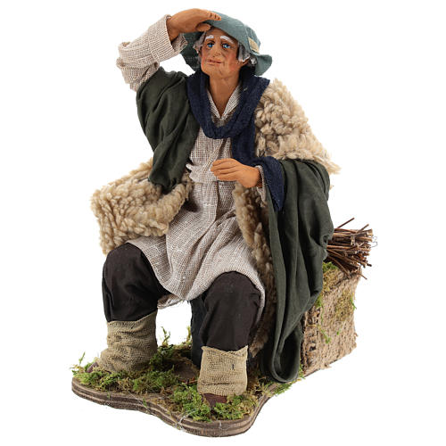 Animated Man looking in the distance figurine for Neapolitan Nativity, 24cm 3