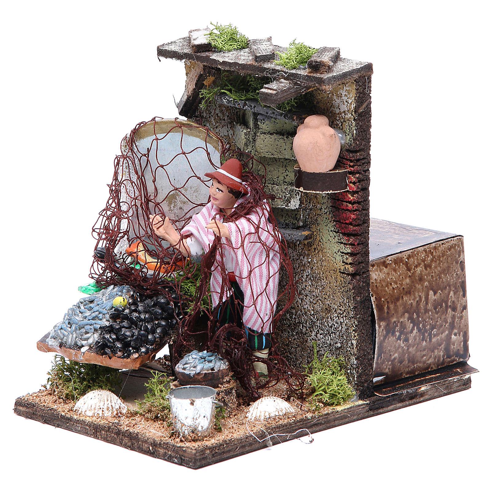 Fishmonger animated figurine for Neapolitan Nativity, 10cm 4