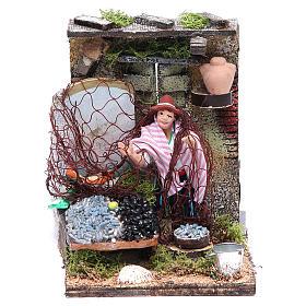 Fishmonger animated figurine for Neapolitan Nativity, 10cm s1