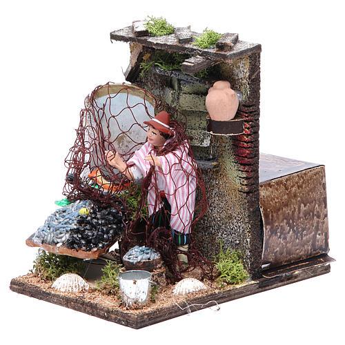 Fishmonger animated figurine for Neapolitan Nativity, 10cm 2