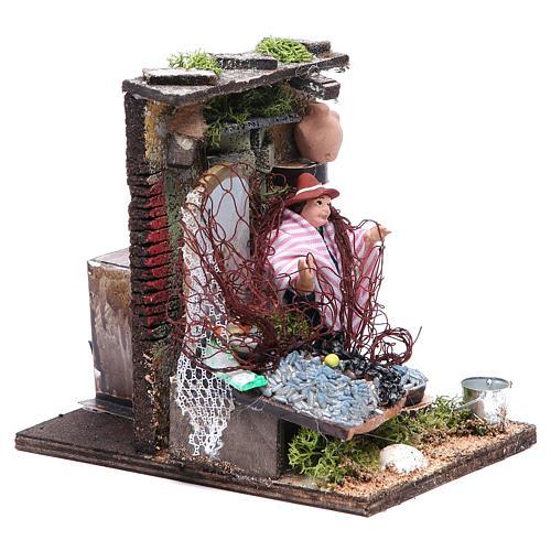 Fishmonger animated figurine for Neapolitan Nativity, 10cm 3