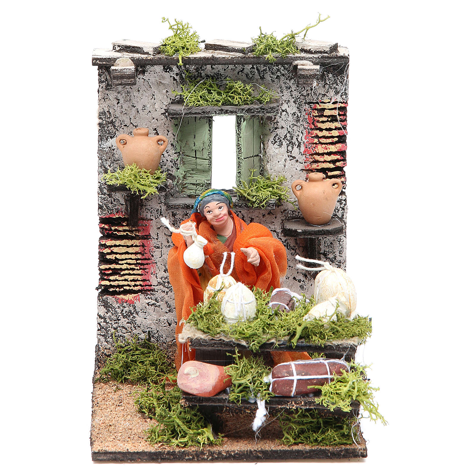 Salami seller animated figurine for Neapolitan Nativity, 10cm 4