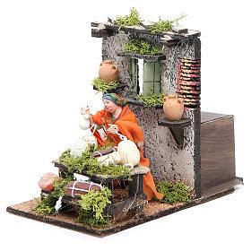 Salami seller animated figurine for Neapolitan Nativity, 10cm s2