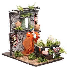 Salami seller animated figurine for Neapolitan Nativity, 10cm s3