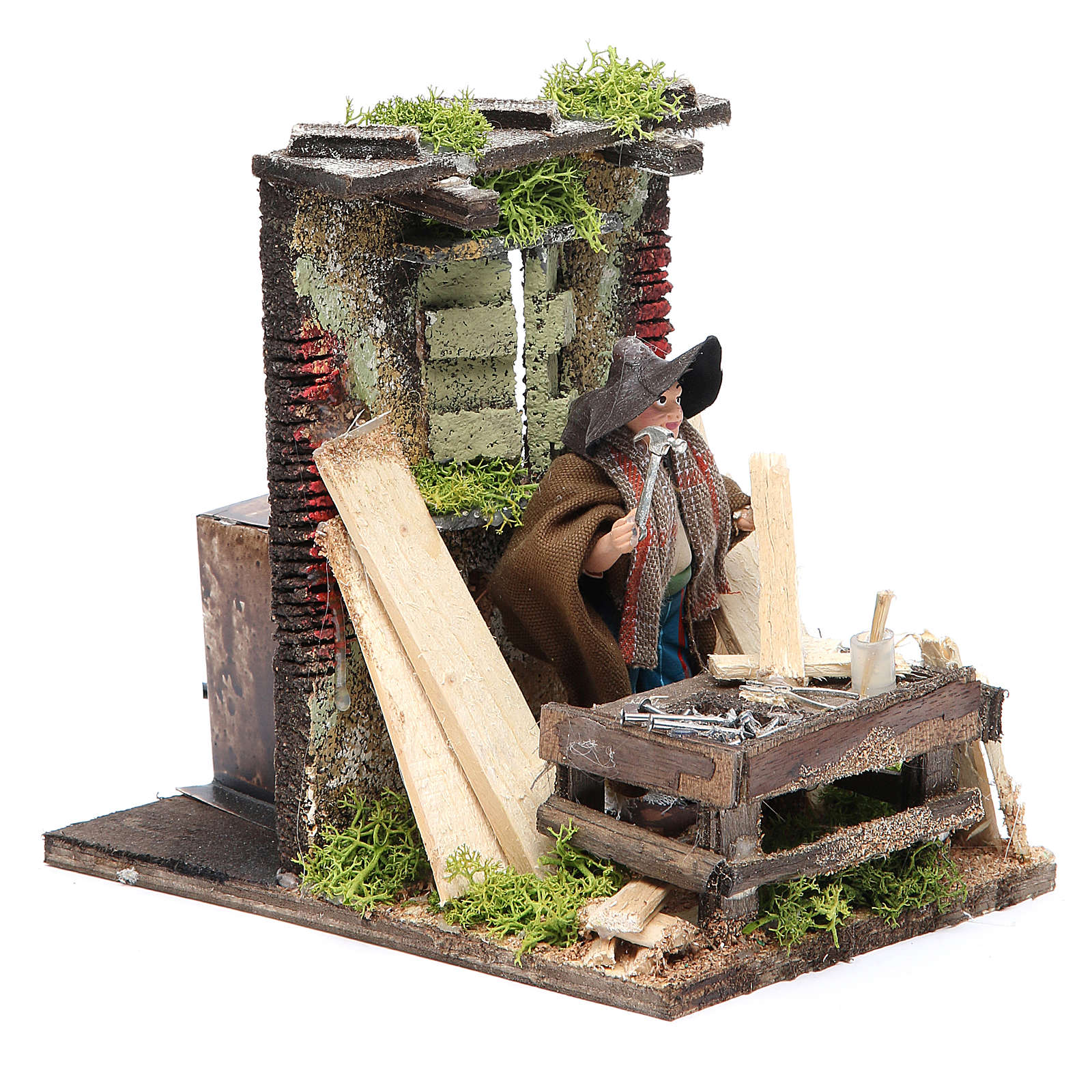 Carpenter animated figurine for Neapolitan Nativity, 10cm 4