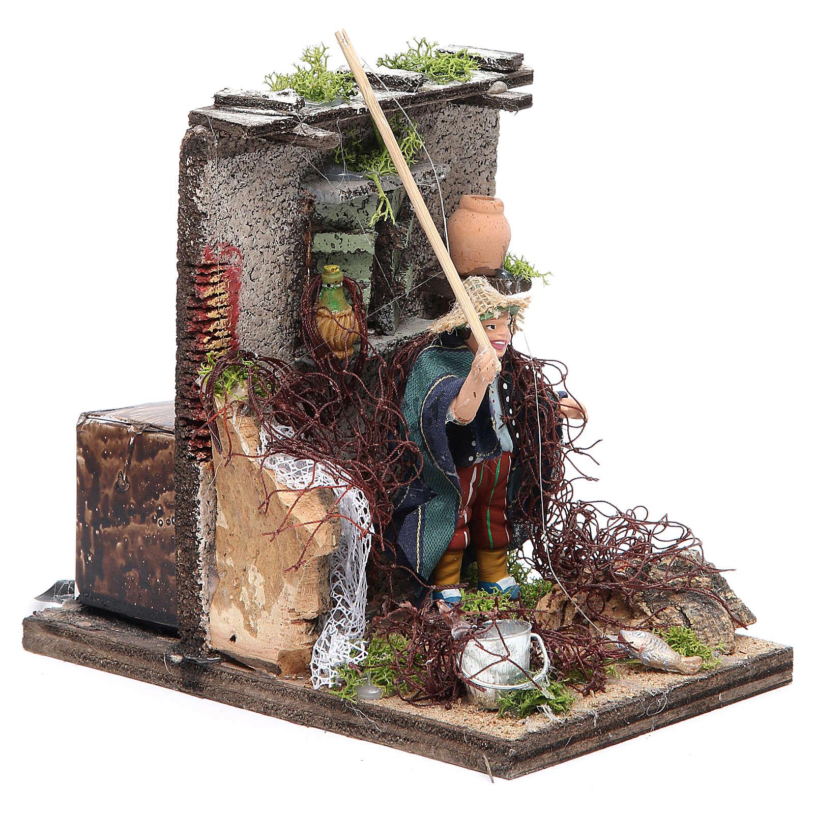 Fisherman animated figurine for Neapolitan Nativity, 10cm 4