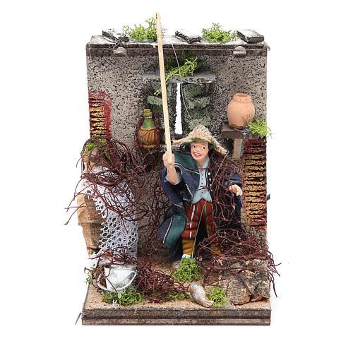 Fisherman animated figurine for Neapolitan Nativity, 10cm 1