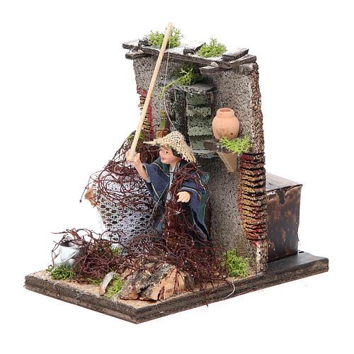 Fisherman animated figurine for Neapolitan Nativity, 10cm 2