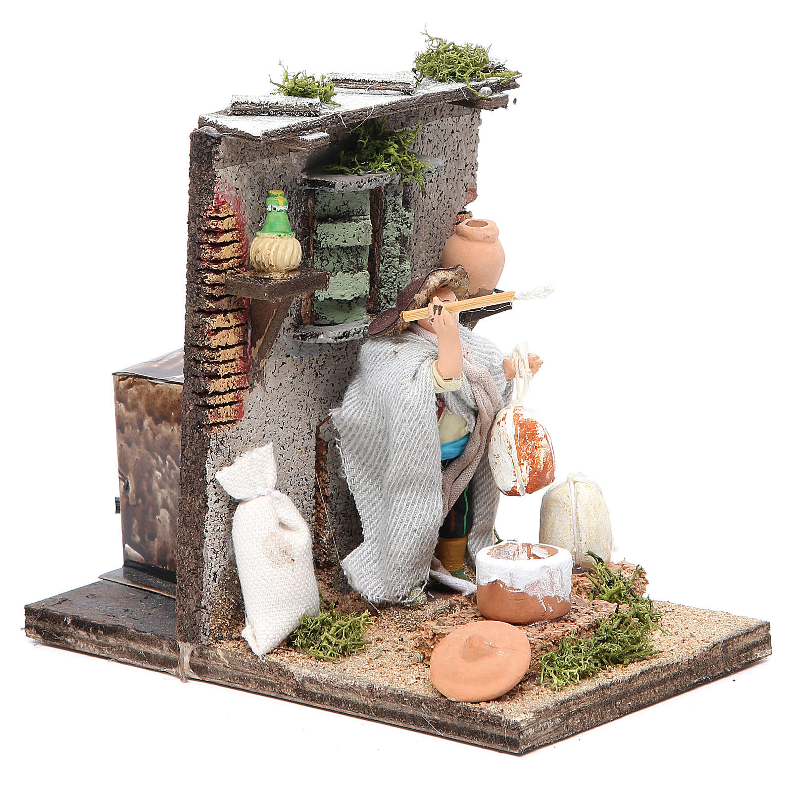 Ricotta maker animated figurine for Neapolitan Nativity, 10cm 4