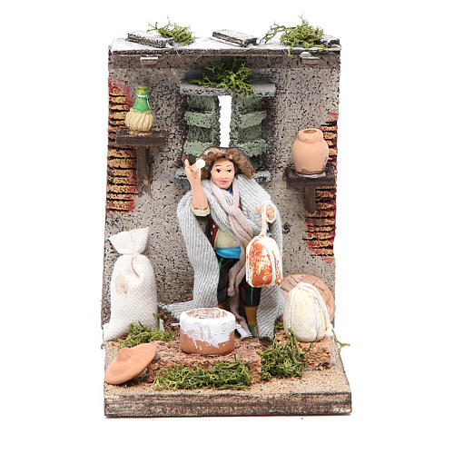 Ricotta maker animated figurine for Neapolitan Nativity, 10cm 1