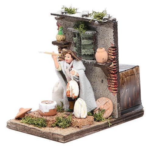 Ricotta maker animated figurine for Neapolitan Nativity, 10cm 2