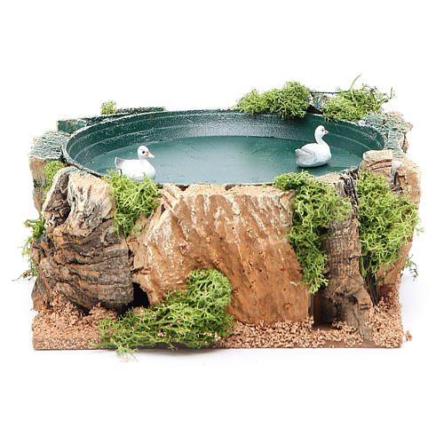Pond with ducks, animated nativity setting 7x15x15cm 1