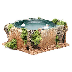 Pond with ducks, animated nativity setting 7x15x15cm s3