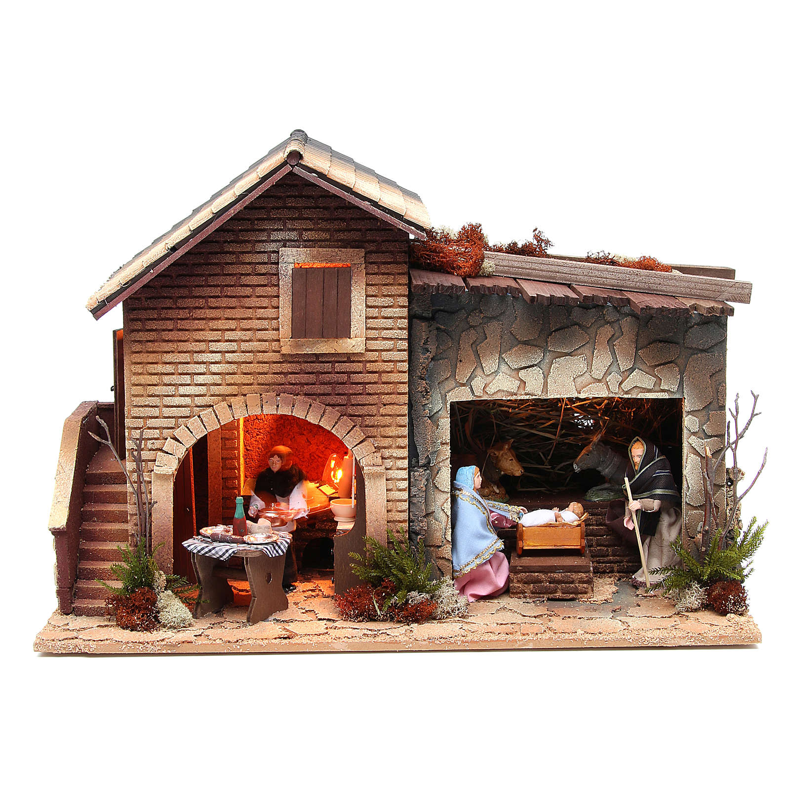 Nativité avec femme en cuisine animation crèche 12 cm 3