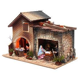 Nativité avec femme en cuisine animation crèche 12 cm s3