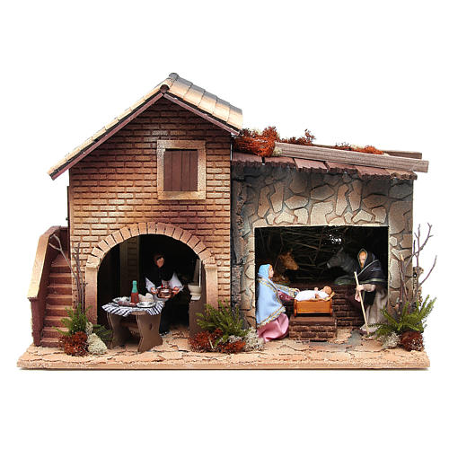 Nativité avec femme en cuisine animation crèche 12 cm 1