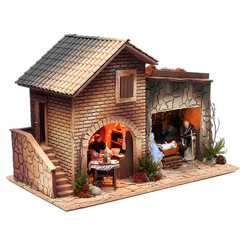 Woman working in the kitchen, animated nativity figurine, 12cm 4