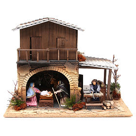 Wood chopper, animated nativity figurine, 12cm s1