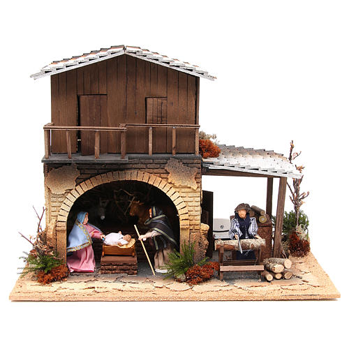 Wood chopper, animated nativity figurine, 12cm 1