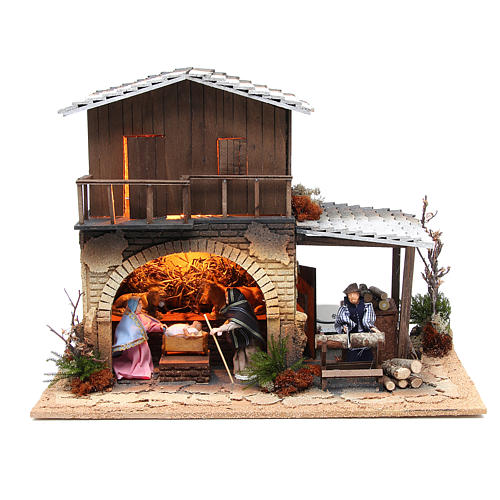 Wood chopper, animated nativity figurine, 12cm 2