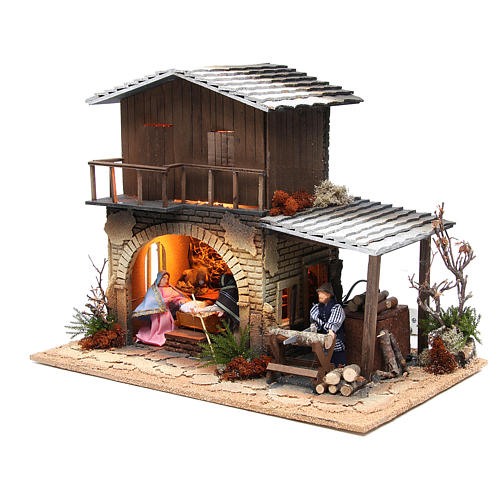 Wood chopper, animated nativity figurine, 12cm 3