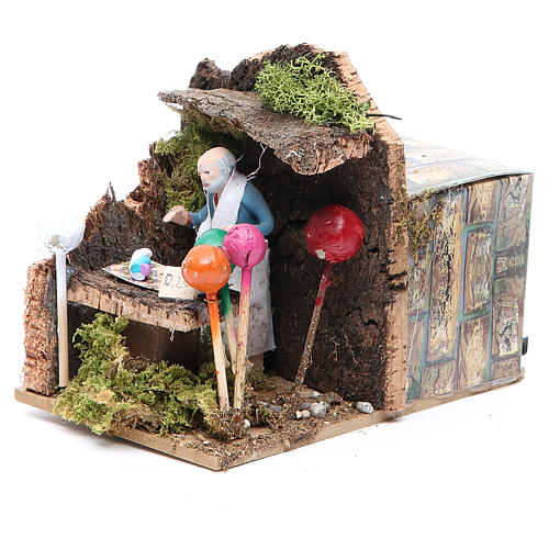 Man with balloons measuring 7cm, animated nativity figurine 2