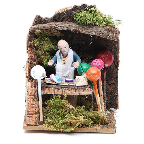 Man with balloons measuring 7cm, animated nativity figurine 1
