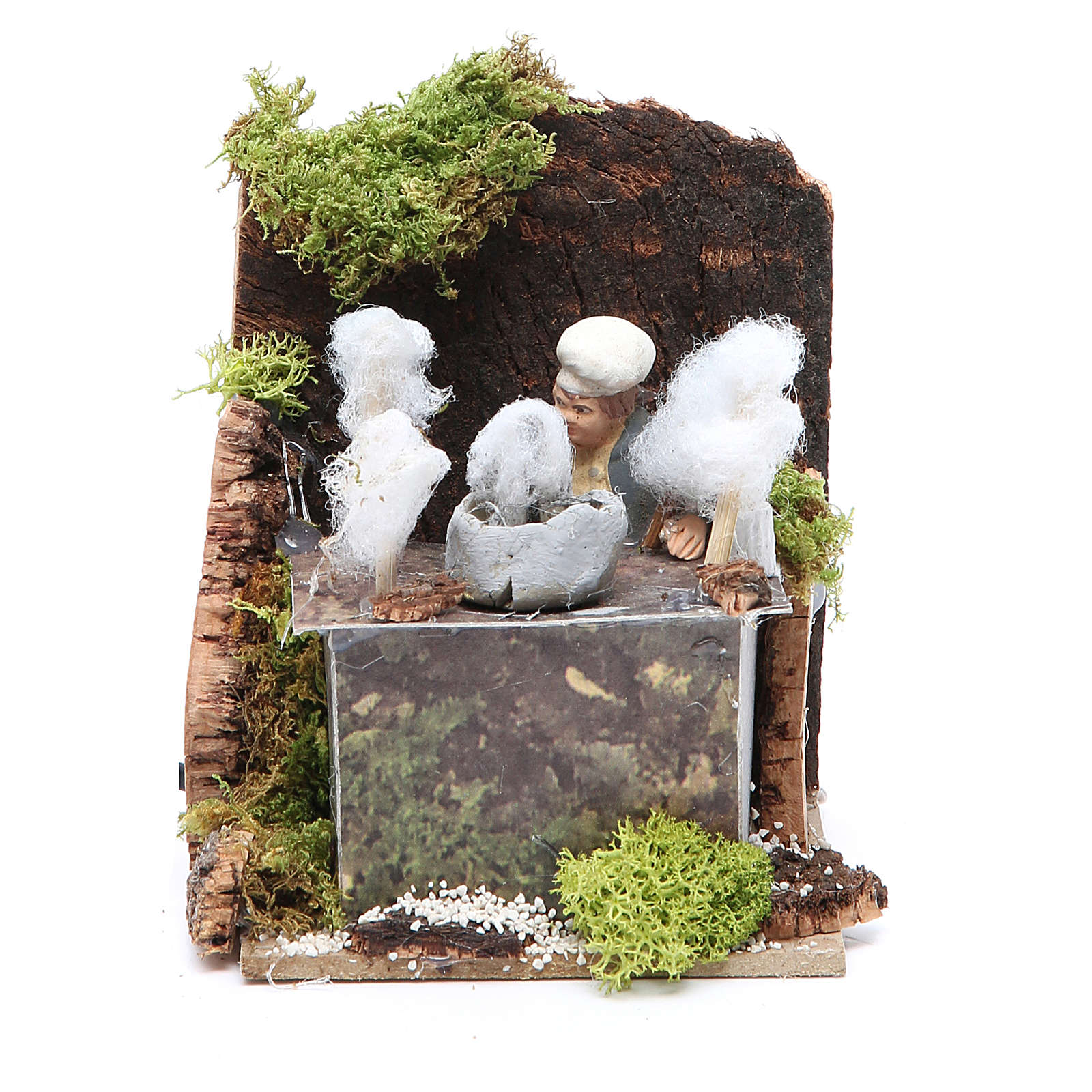 Man with candy floss measuring 7cm, animated nativity figurine 3