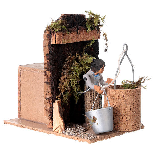 Man at the well measuring 7cm, animated nativity figurine 3