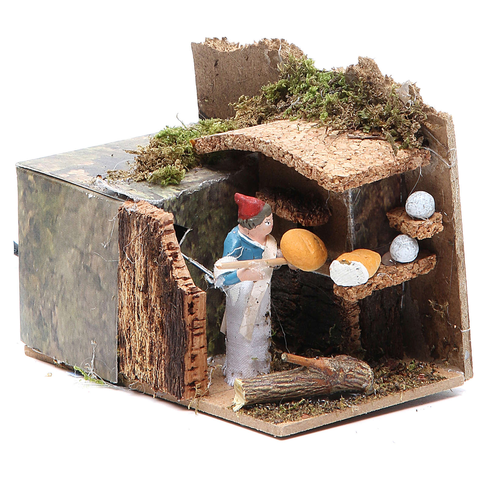 Man with bread stall measuring 4cm, animated nativity figurine 3
