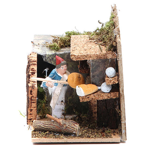 Man with bread stall measuring 4cm, animated nativity figurine 1