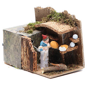 Man with bread stall measuring 4cm, animated nativity figurine s3