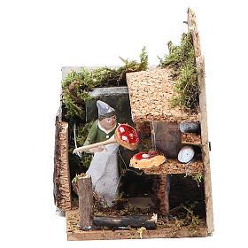 Bread seller measuring 4cm, animated nativity figurine s1