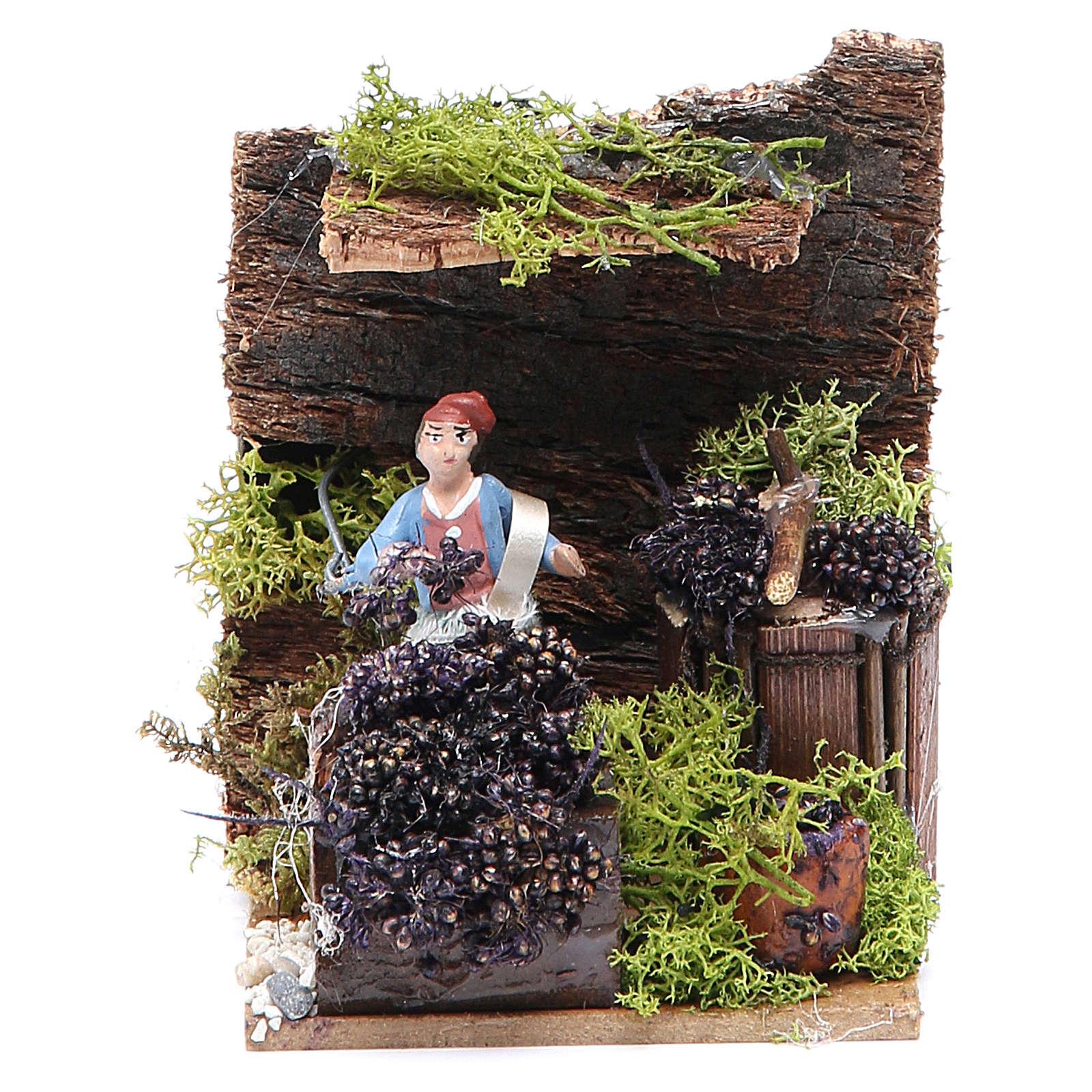Venditrice di uva cm 4 movimento per presepe 3