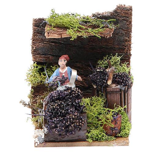 Venditrice di uva cm 4 movimento per presepe 1