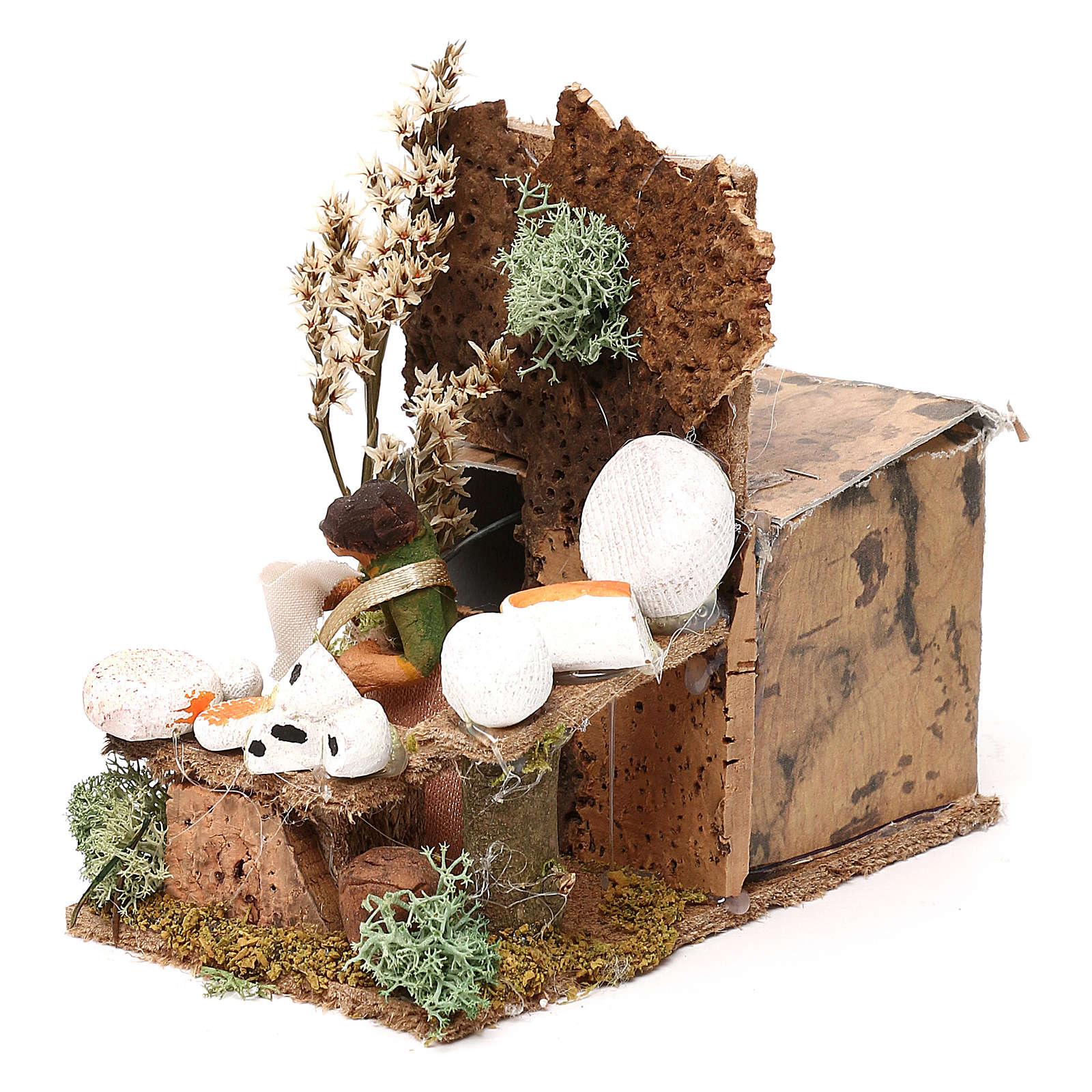 Cheese seller measuring 4cm, animated nativity figurine 3