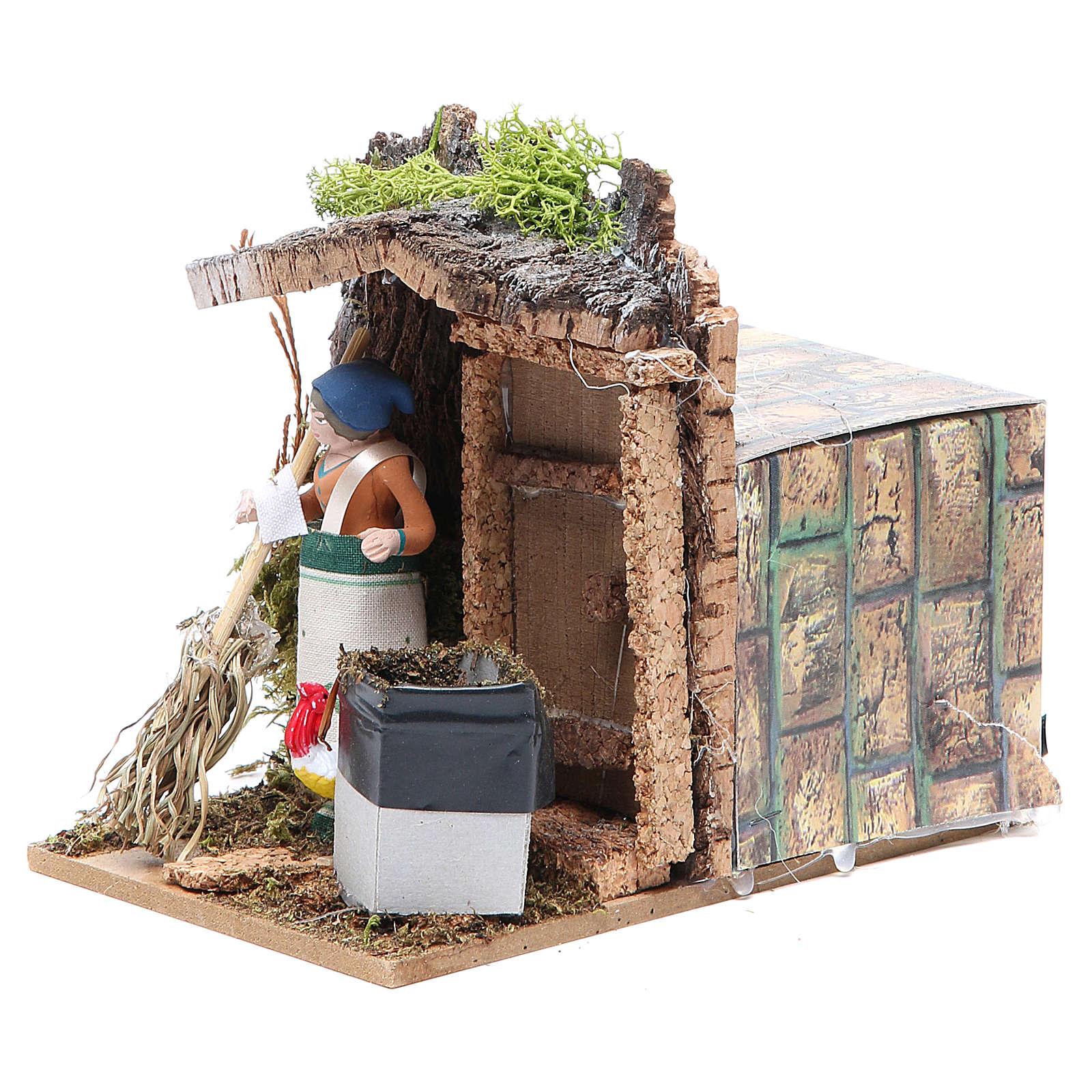 Woman sweeping measuring 7cm, animated nativity figurine 3