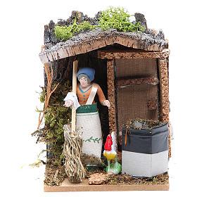 Woman sweeping measuring 7cm, animated nativity figurine s1