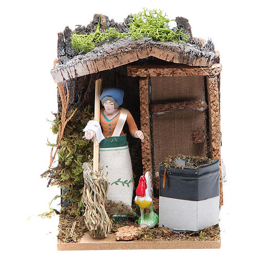 Woman sweeping measuring 7cm, animated nativity figurine 1